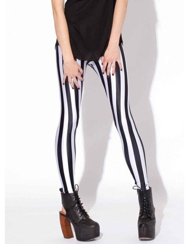 Stretchy Black and White Vertical Striped Print Tights Leggings #stripedleggings