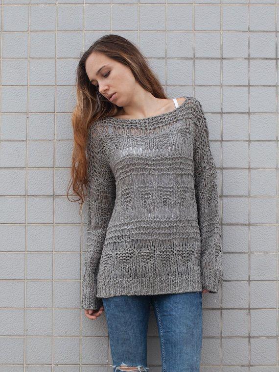Punto de mujer de lana suéter suéter largo que gris por MaxMelody ...