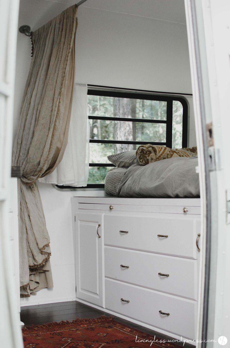 5th wheel master bedroom  u  Avion Travel Trailer Renovation Master Bed View  White