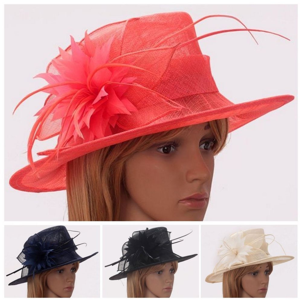 C Navy Black Ivory Las Large Hat Fascinator Wedding Prom Ascot Party New
