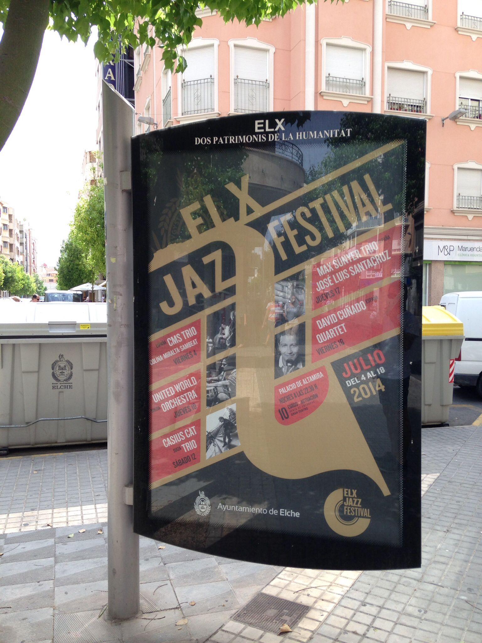 Elx Jazz Festival 2014. Mupi con el cartel diseñado para la edición 2014.