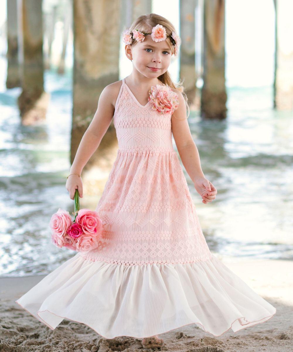 Pink lace u champagne ruffle maxi dress toddler u girls products
