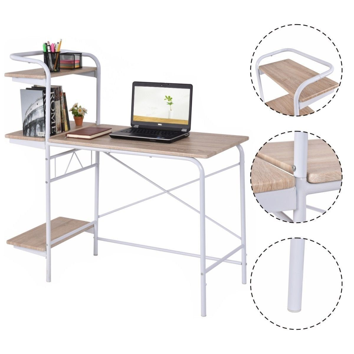 amazon home office furniture. Costway Computer Desk Book Shelf Home Office Furniture Laptop Writing Desk, Grey Metal Amazon G