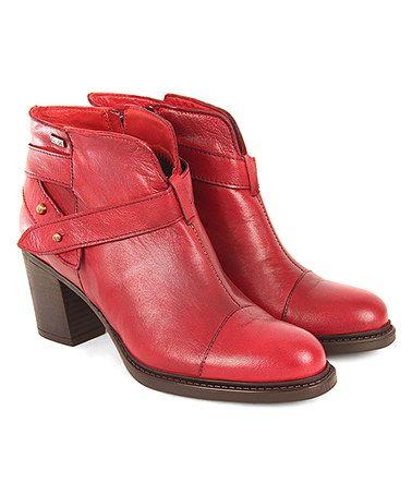 Red Wrap-Around Burnished Leather Bootie #zulilyfinds