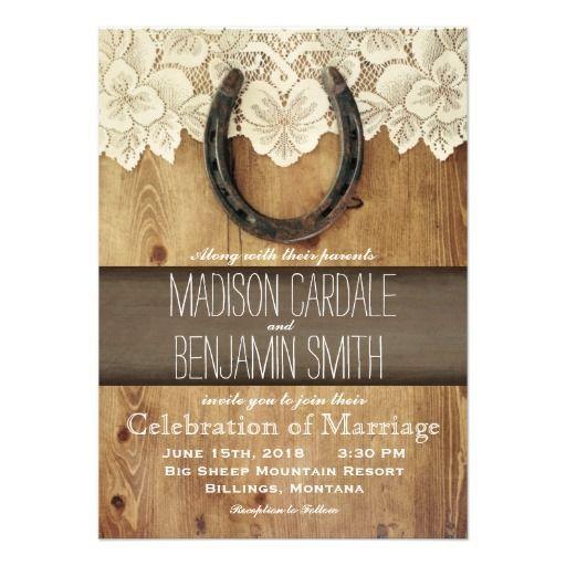 Western Wedding Invitations: Country Western Horseshoe Lace Wedding Invitations