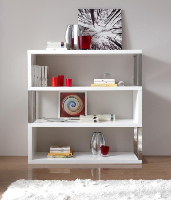 Modern Bookcase In White High Gloss And Chrome White Shelving