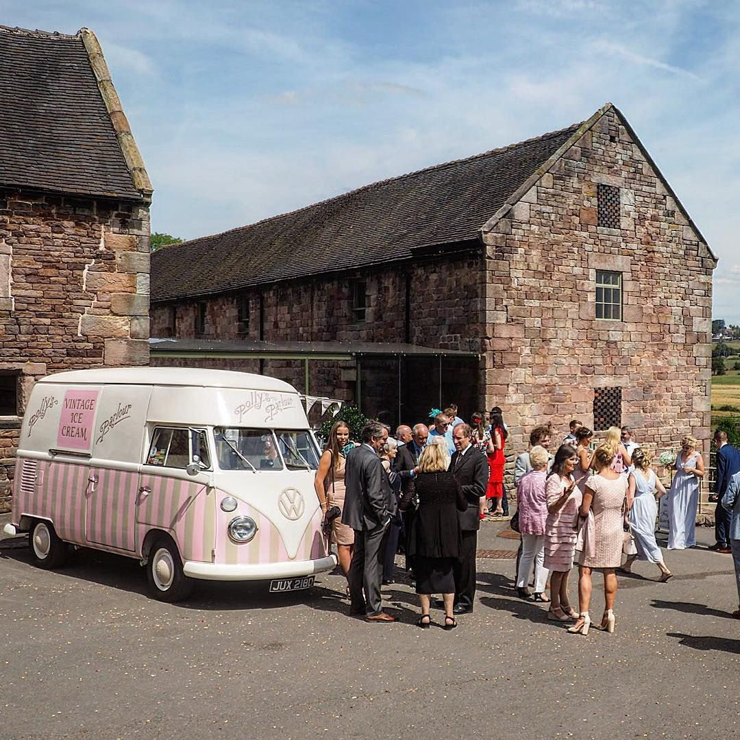 Vintage Vw Ice Cream Parlour On Instagram Our First Wedding Yesterday Was At The Beautiful Theashesbarns For A Glori Vintage Vw Ice Cream Van Ice Cream Barn