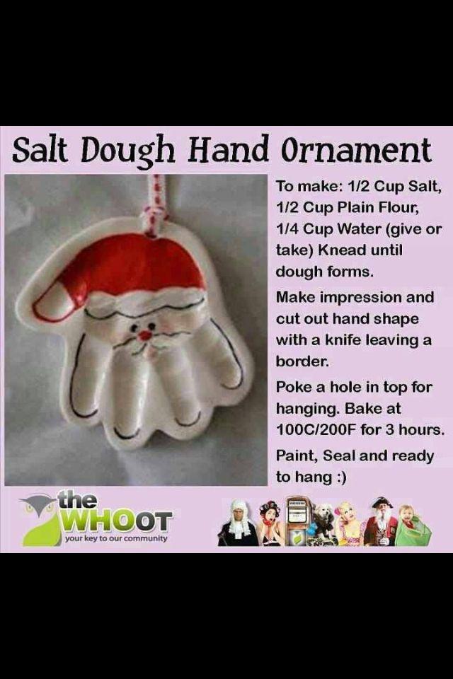 Salt dough hand ornament  Classroom  Pinterest  Salt dough