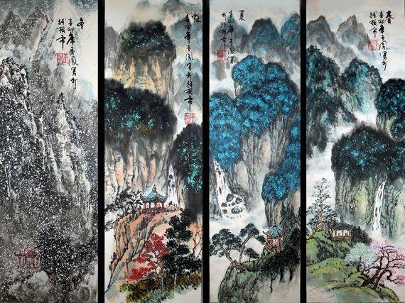 Chinese Brush Painting Four Seasons Scenery Seasons In By Eyart