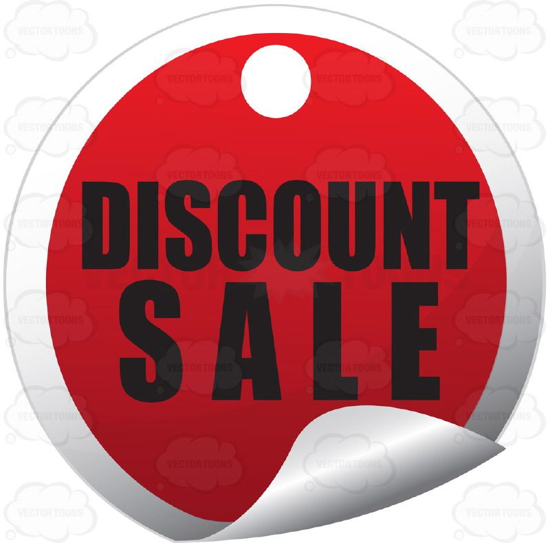 Discount Sale Circle Red Price Tag Sticker With
