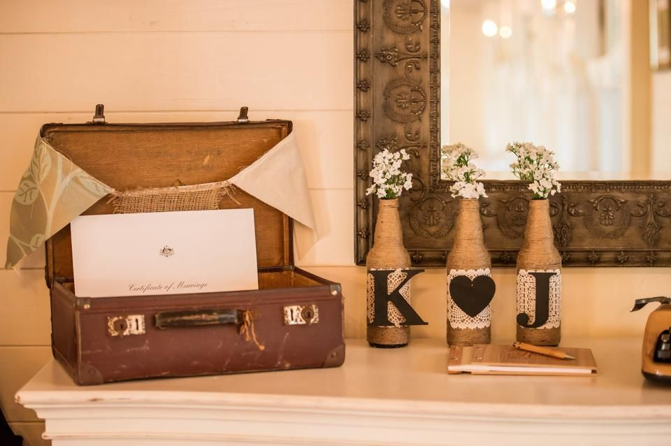 Vintage suitcase used to hold the wedding cards
