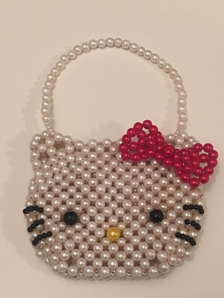 d17cf9924401 Hello Kitty Vintage Small Pearl Purse Bag Wallet RARE Sanrio Toy Kids Beads