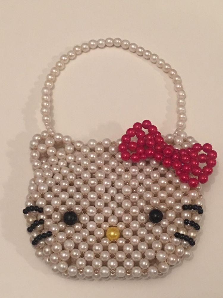 84993cd33 Hello Kitty Vintage Small Pearl Purse Bag Wallet RARE Sanrio Toy Kids Beads  | eBay