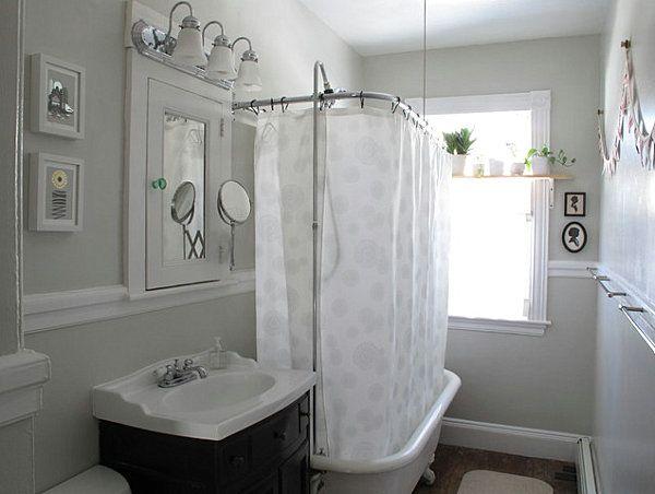 Shabby-Chic Badezimmer-Metall Details-Dusche Wanne-Vorhang | dusche ...