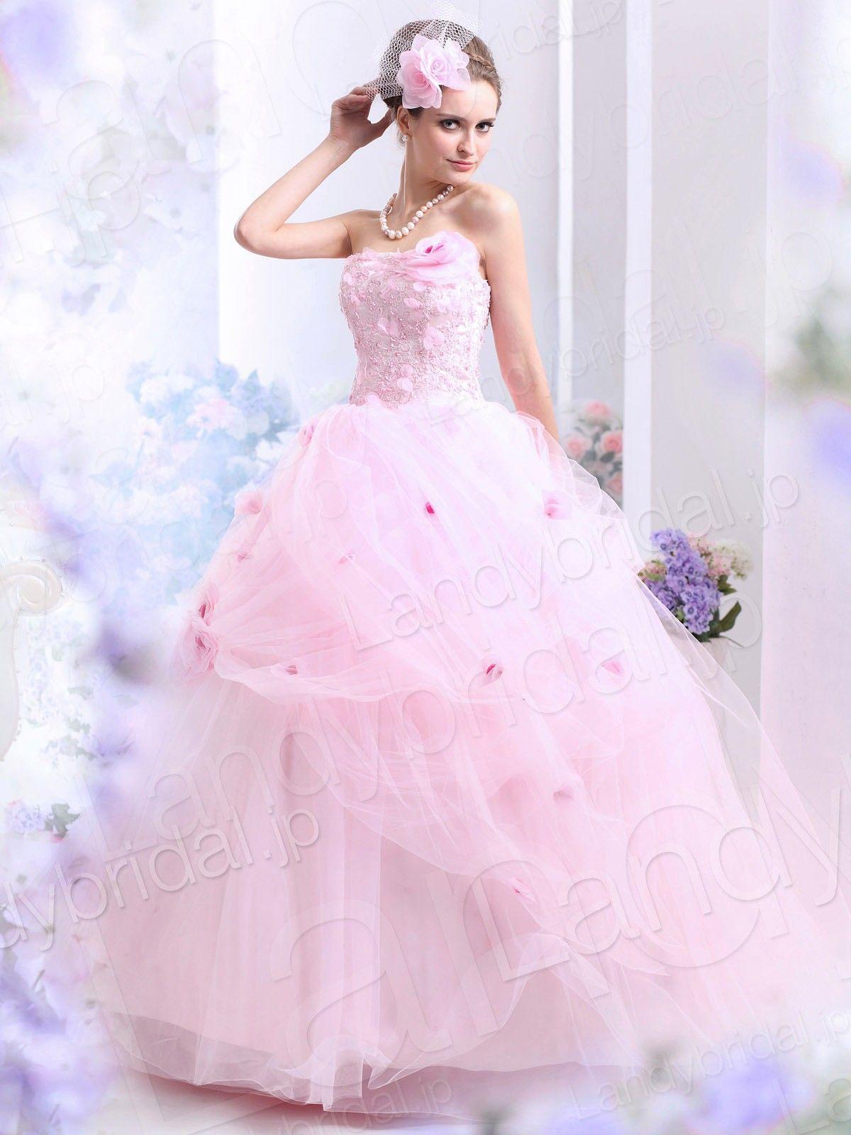 カラードレス お色直し プリンセスライン ビスチェ フロア チュール ...