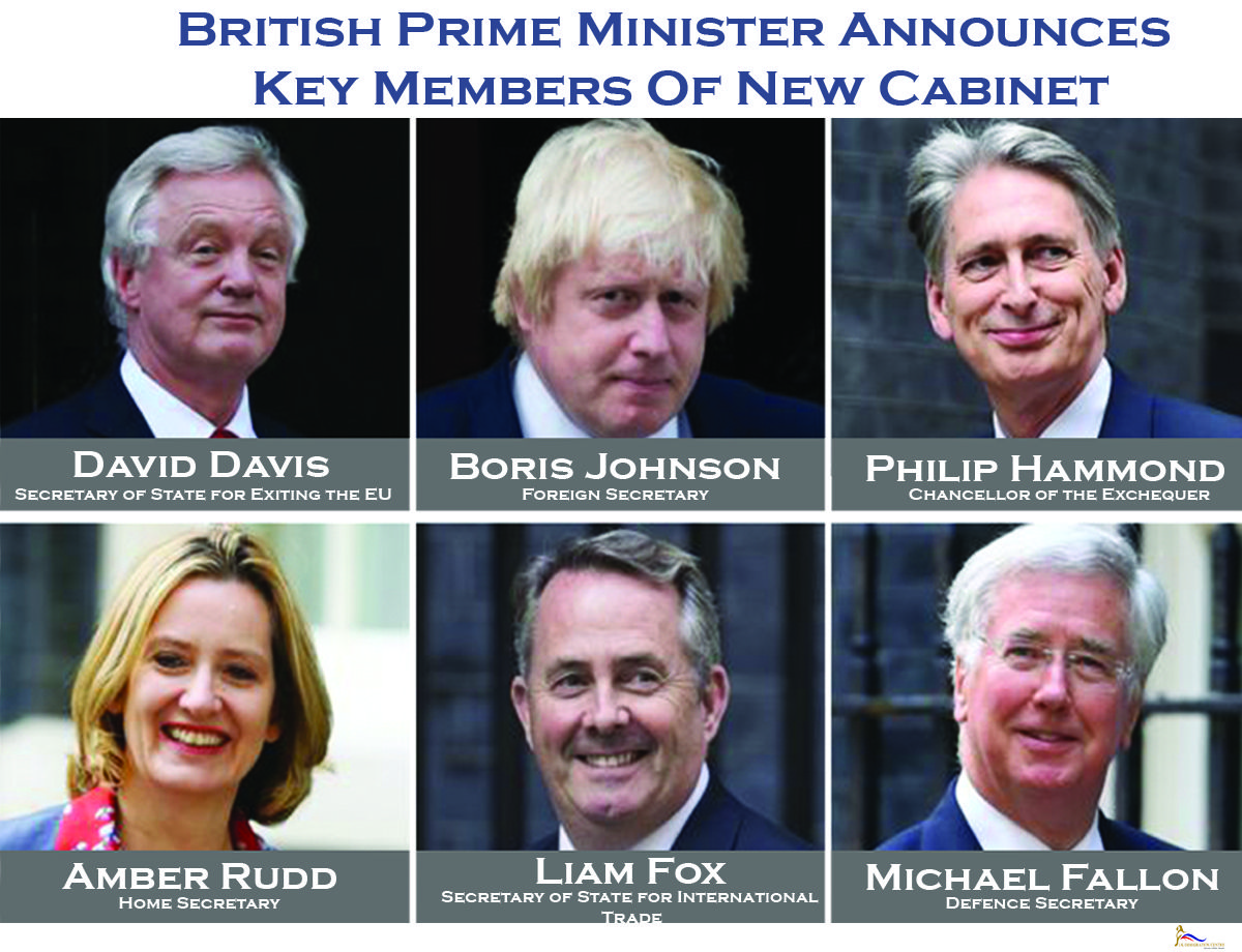 New British Prime Minister Theresa May Announced Six Members Of Her Cabinet.