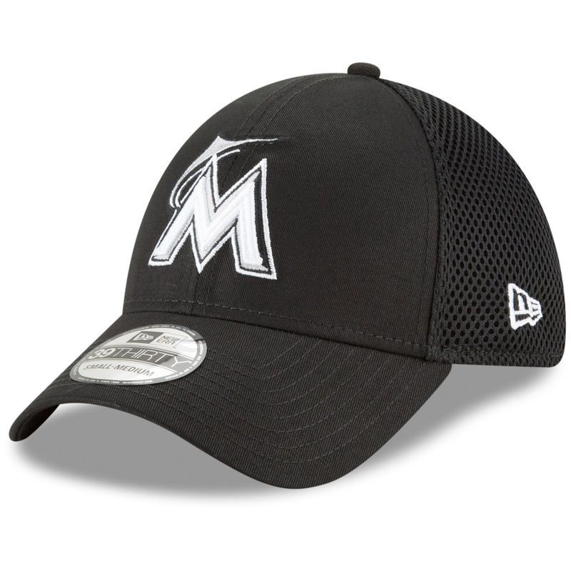 low priced 82730 21fcb Miami Marlins New Era Neo 39THIRTY Unstructured Flex Hat– Black