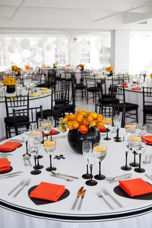 Bright Black White Orange And Yellow Modern NYC Loft Wedding Photos By Image