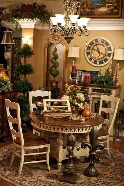 Dinning room table, chair, silk floral, rug Dining room table