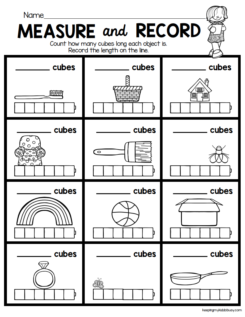 MEASURE and record - kindergarten math worksheet - length - width - easy  math center…   Kindergarten math worksheets [ 1102 x 850 Pixel ]
