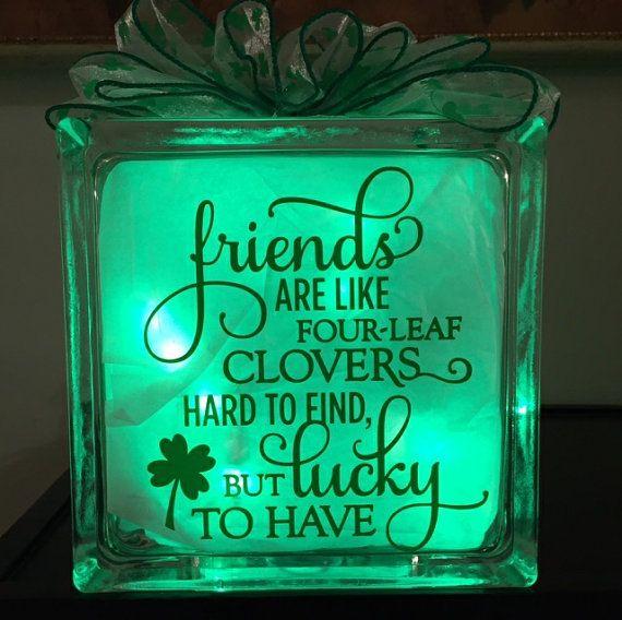 St Patrick S Day Decor Irish Prelit Gl Block Friends Are Like C Accent Lamp Night Light