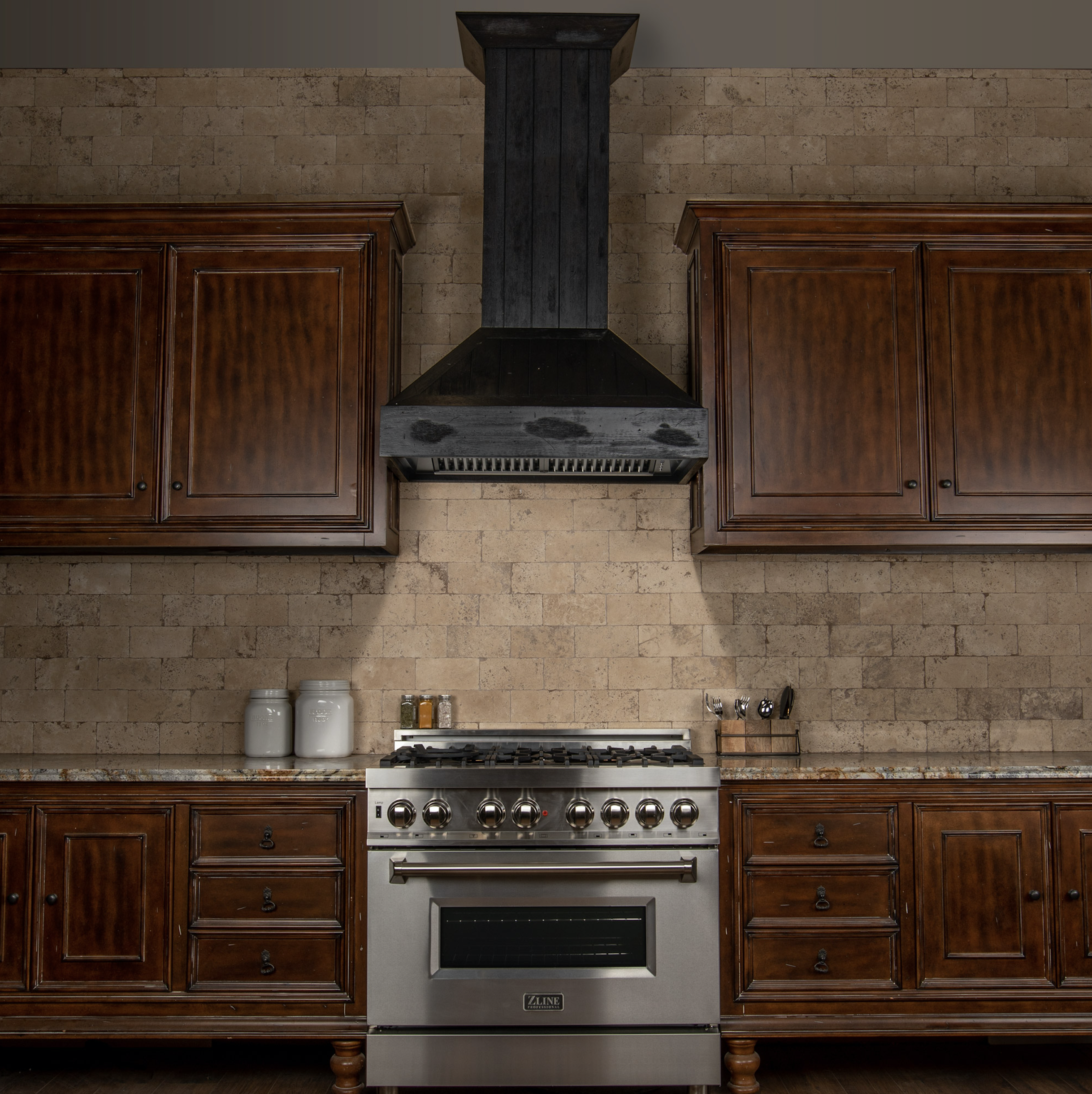 Add A Cabin Touch To Your Kitchen With This Rustic Dark Finish Wooden Hood Wall Mount Range Hood Wooden Range Hood Range Hood