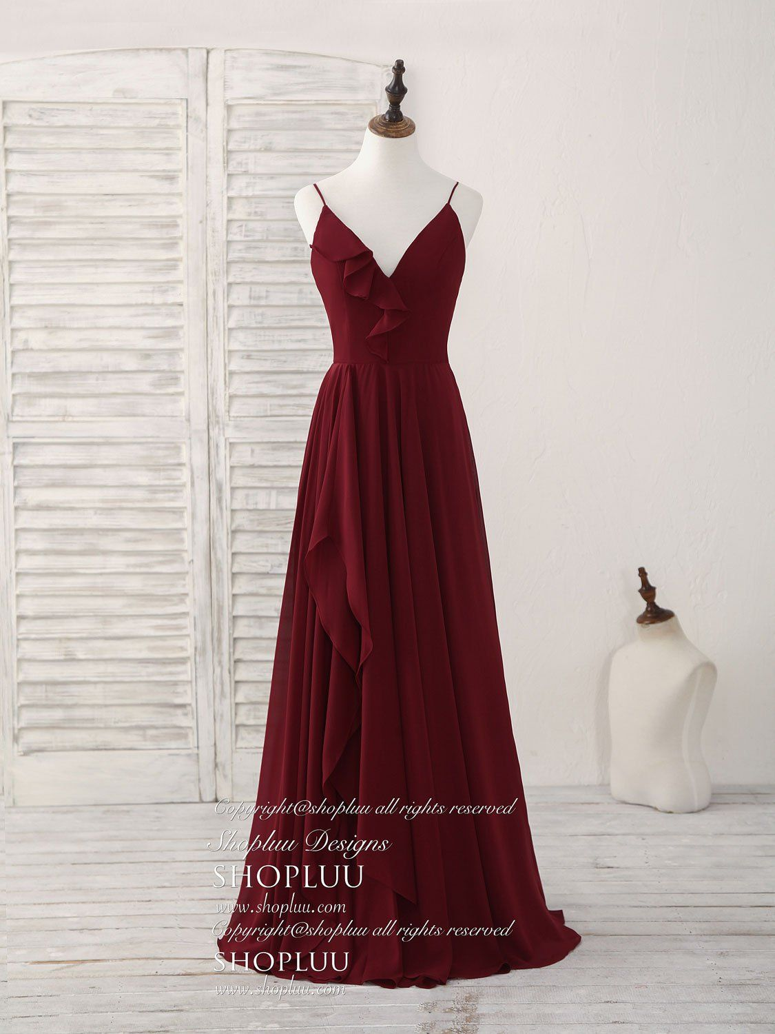 Simple burgundy v neck chiffon long prom dress 354383581