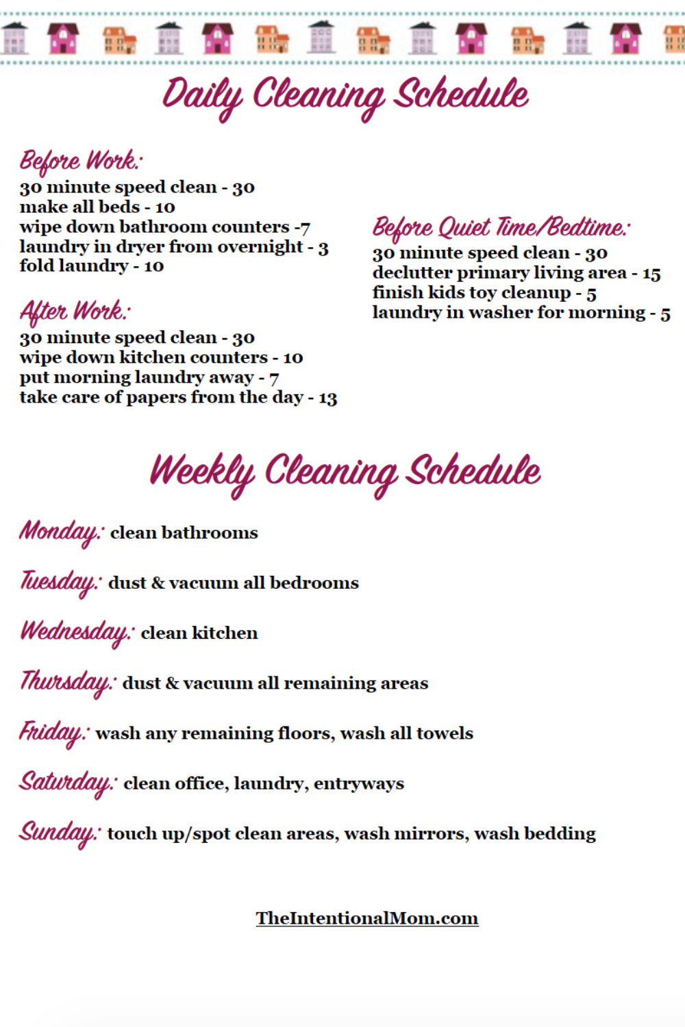 Free Printable Cleaning Schedule For Busy Moms   Cleaning schedule ...