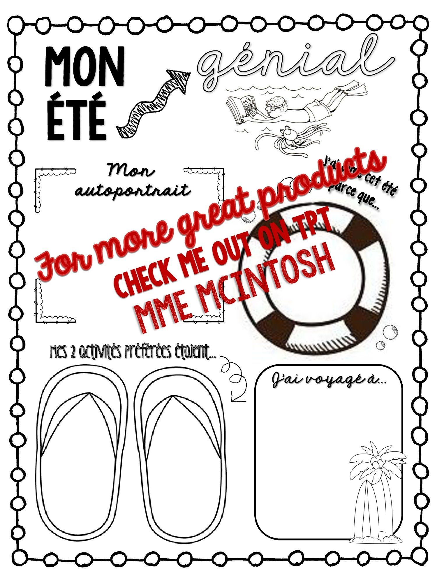 FREEBIE! Great French writing activity for Back to School!