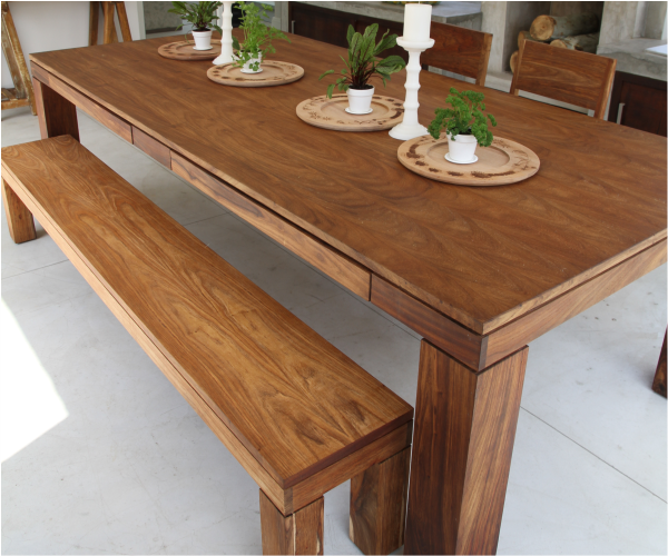 Dining tables · Earth Dining Table with drawers and Earth Bench in Kiaat.  #table #wood #