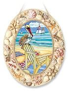 Pelican's Perch Seascape Large Oval Stained Glass Suncatcher