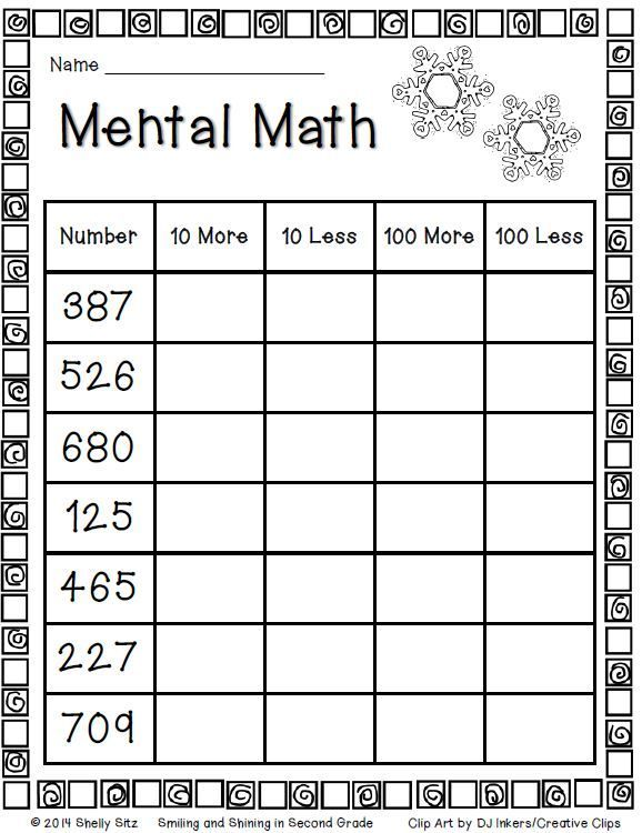 Mental math for second grade FREEBIE | Math - Grade 2 - NBT1-4 ...