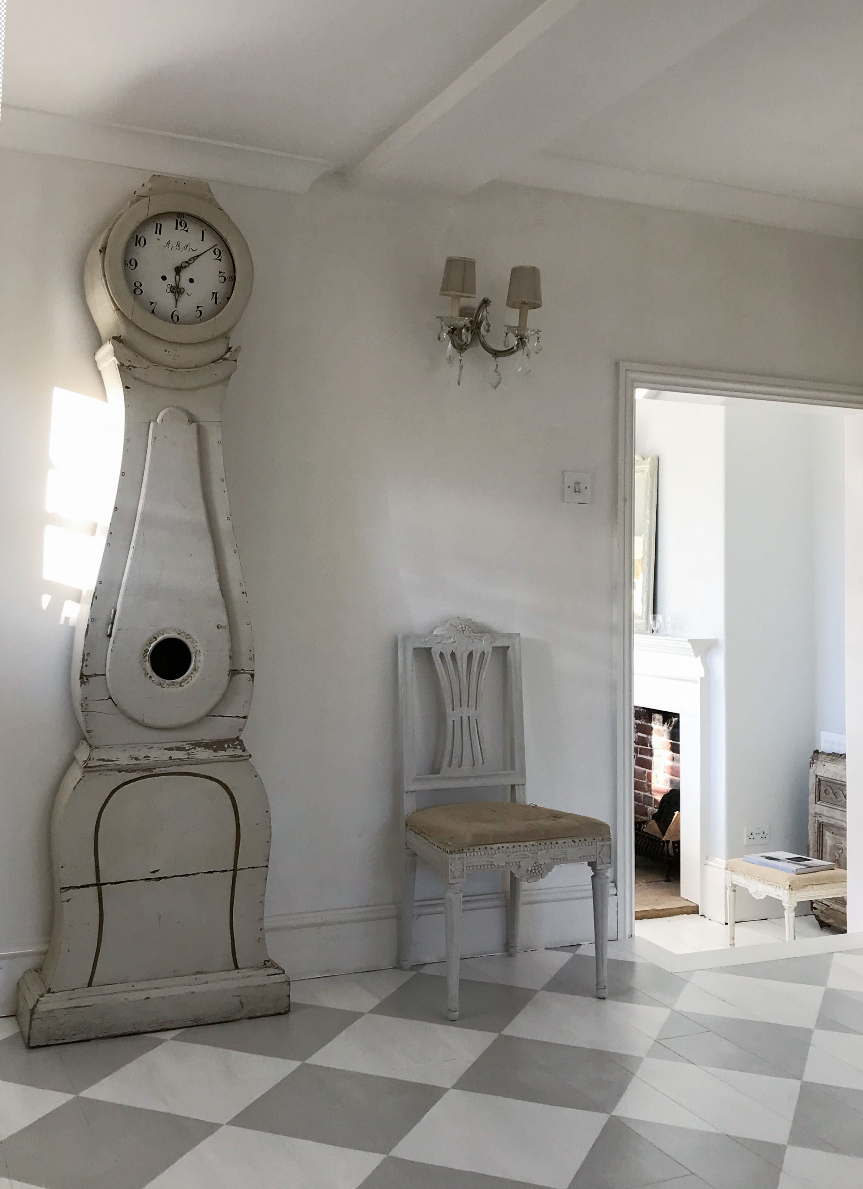 Checked Floor, Mora Clock And Gustavian Chair