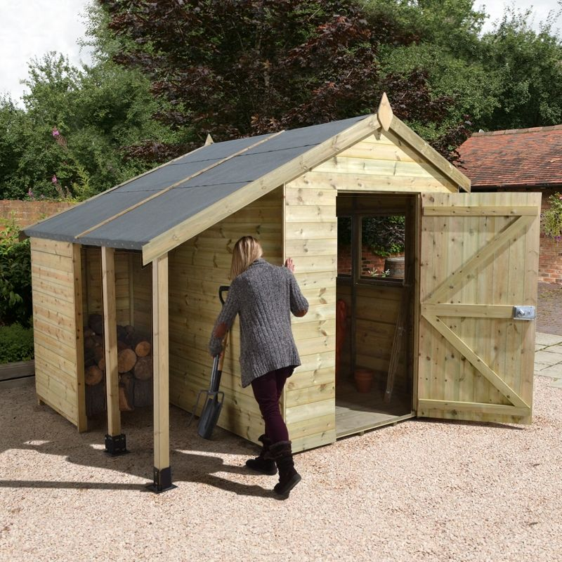 our traditional high quality 8x6ft shed with logstore provides a spacious storage environment for all