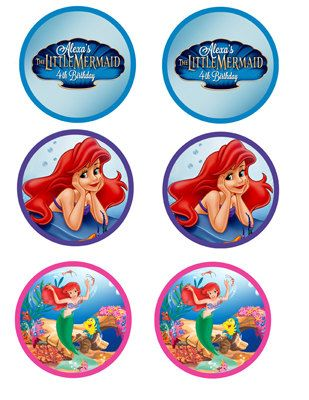 Disney The Little Mermaid Cupcake Toppers | Girl Party ...