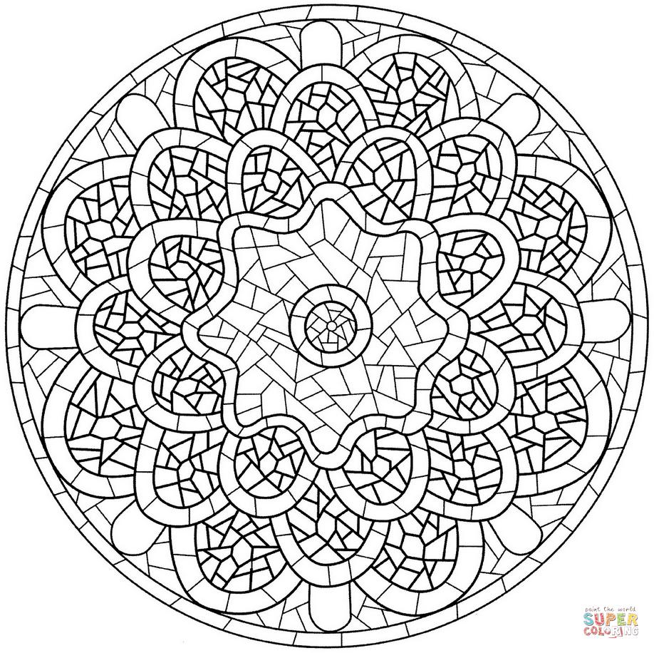 Ausmalbild Mandala Mit Mosaik Muster Ausmalbilder Kostenlos Zum Ausdrucken In 2020 Muster Malvorlagen Mosaikmuster Mandalas Zum Ausmalen