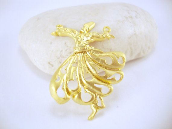 Matte Gold Plated Whirling Dervish 1 piece by ShiShisBoutique, $5.00