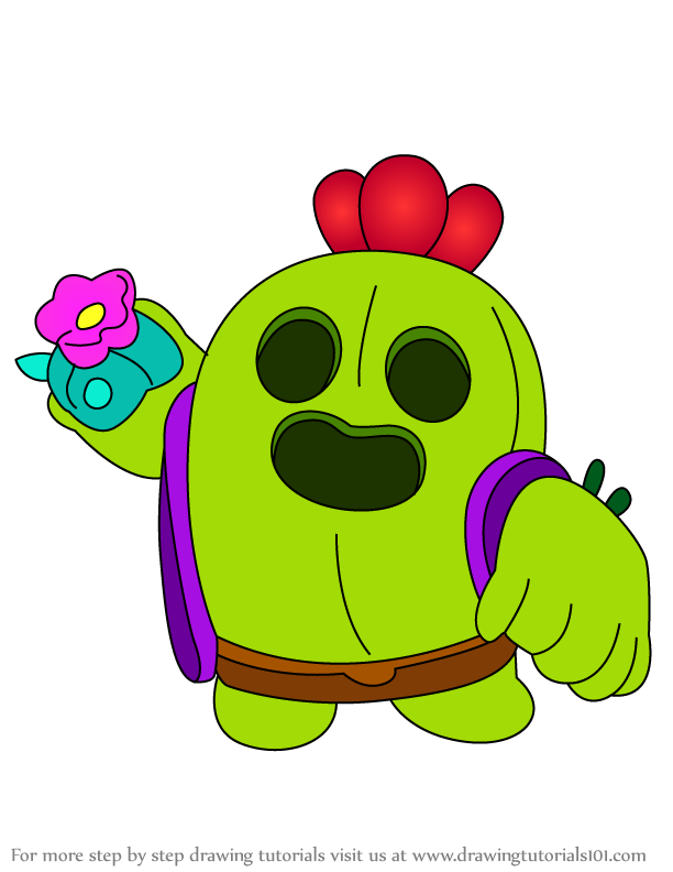 Learn How To Draw Spike From Brawl Stars Brawl Stars Step By Step Drawing Tutorials In 2020 Star Wallpaper Brawl Star Character