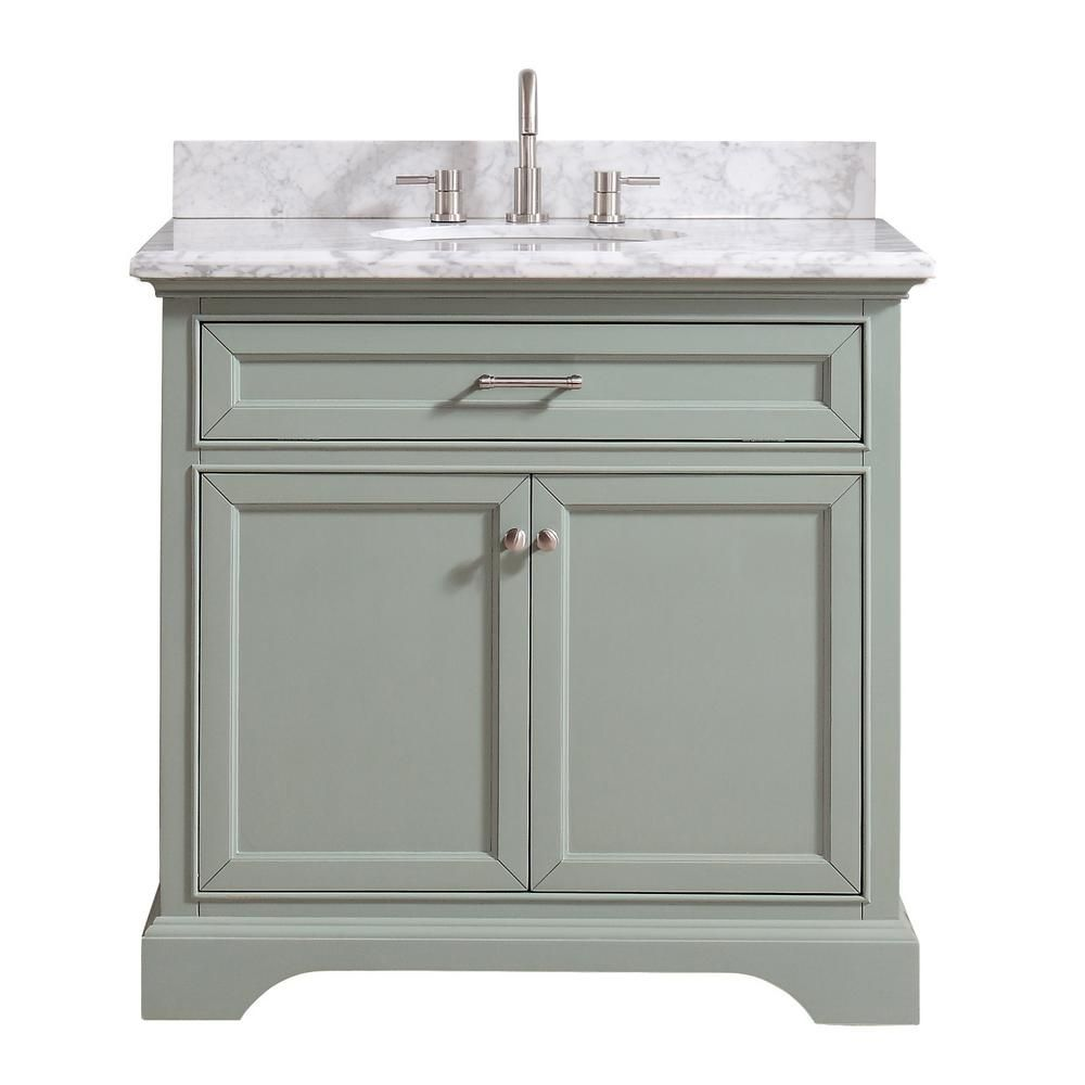 Home Decorators Collection Windlowe 37 In W X 22 In D X 35 In H Bath Vanity In Green With Carrera Marble Vanity Top In White With White Sink 15101 Vs37c Sg Bath Vanities
