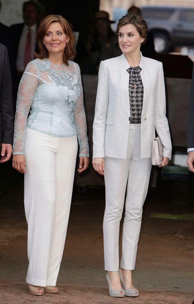 Su Majestad la Reina Letizia junto a la Primera Dama, Wilma Pastrana Jiménez, durante su visita a San Juan. San Juan, Puerto Rico, 16.3.2016.