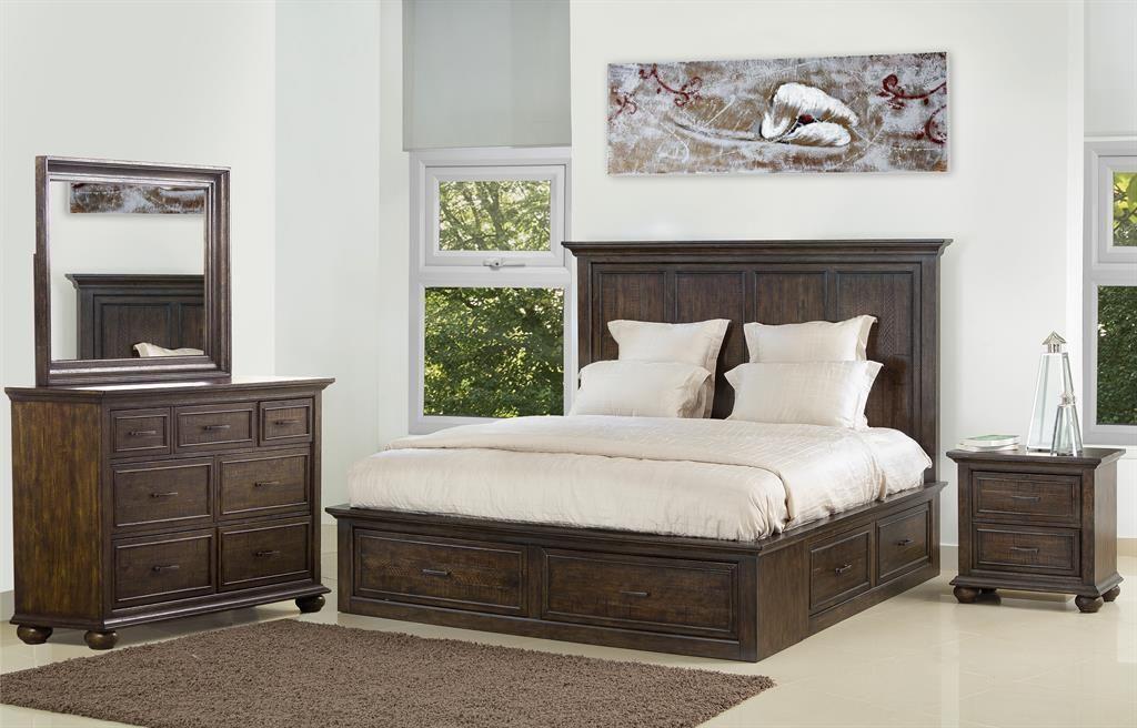 Dark Distressed Storage Bedroom Set King Storage Bed Storage