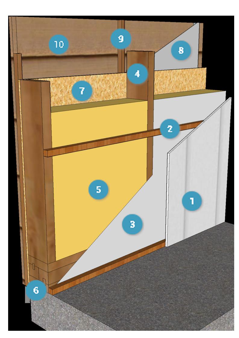 composition du kitmaisonbois murs d 39 ossature charpente menuiseries details pinterest. Black Bedroom Furniture Sets. Home Design Ideas