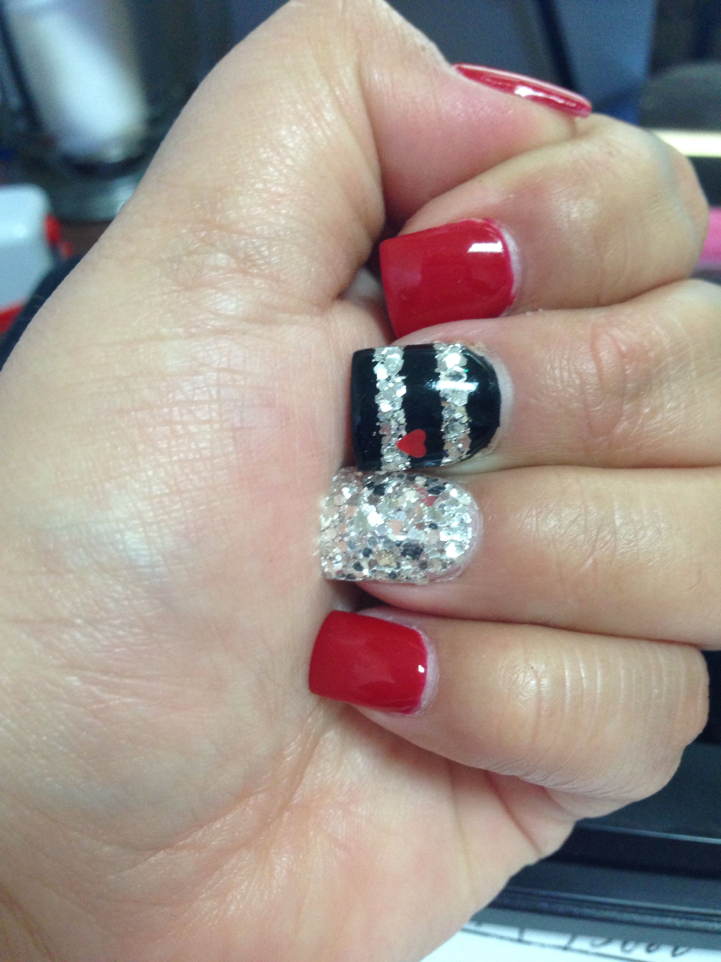 Red, black and glitter Valentine\'s nails thanks to Sara at MidTown ...