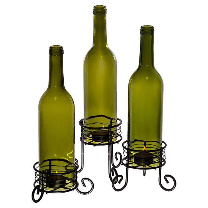 3 Piece Marcello Bottle Votive Set