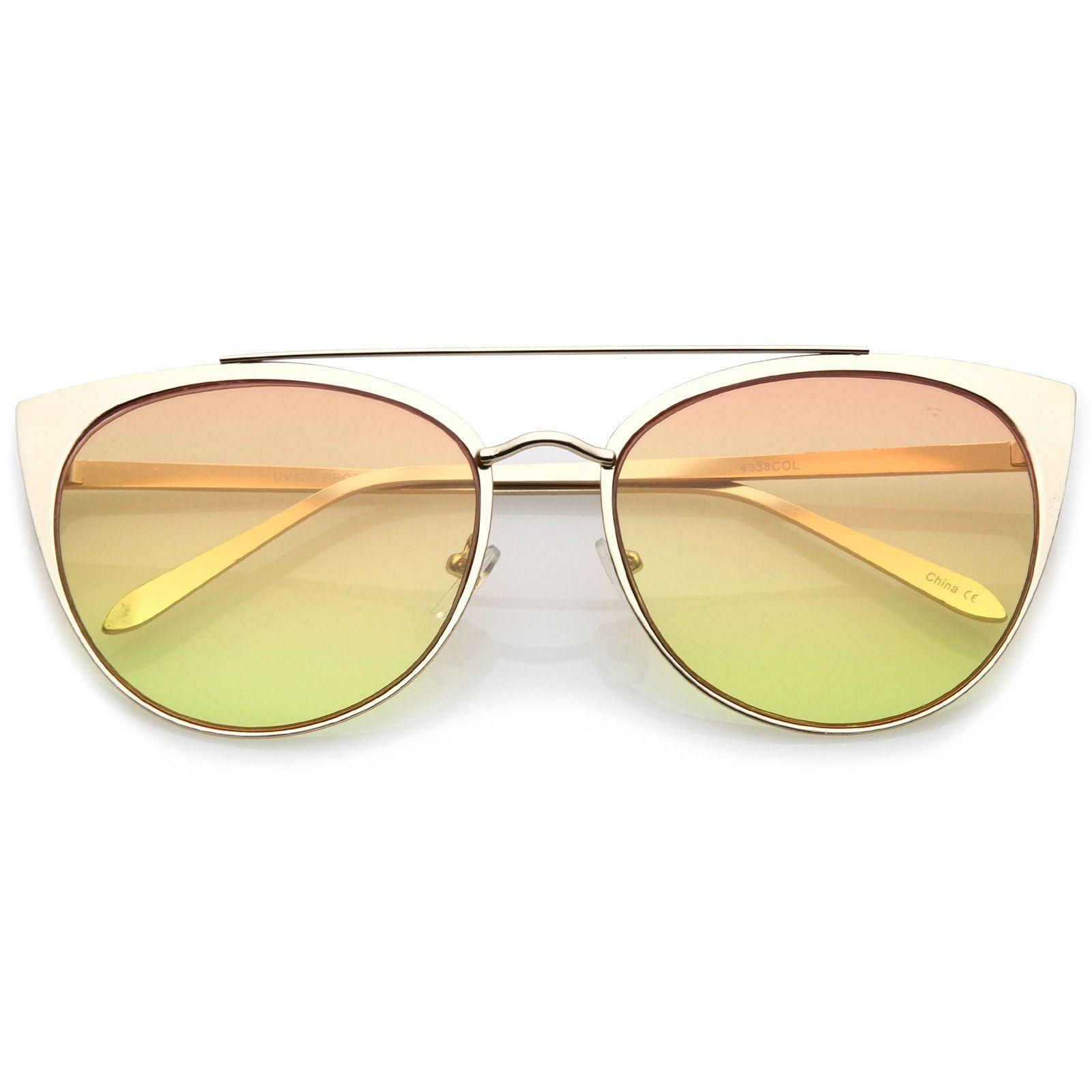 Women s Oversize Metal Crossbar Colored Flat Lens Cat Eye Sunglasses ... 9c8275f072