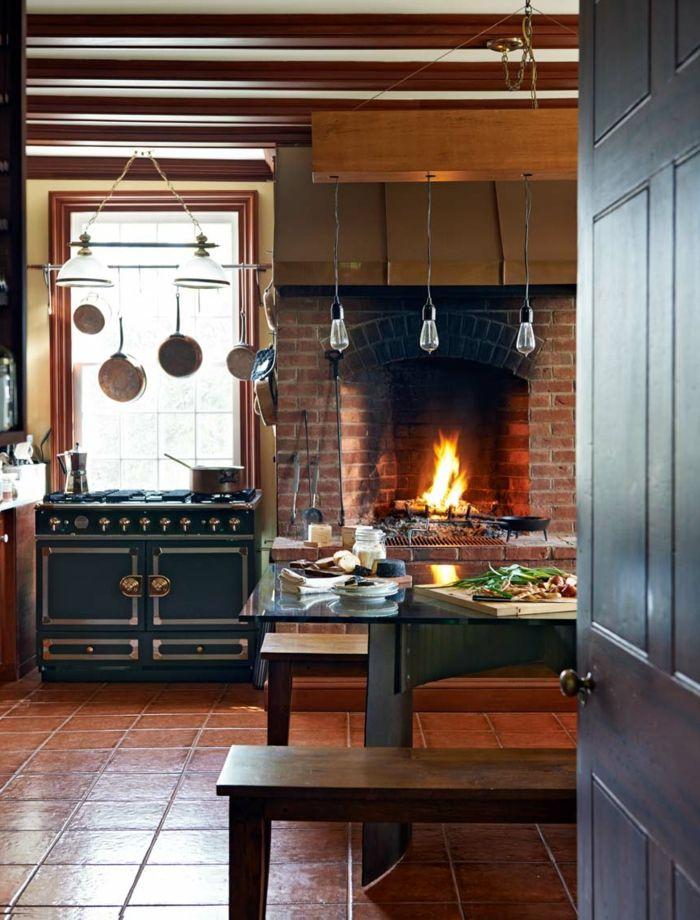 cocinas rusticas cocina con chimenea de ladrillo
