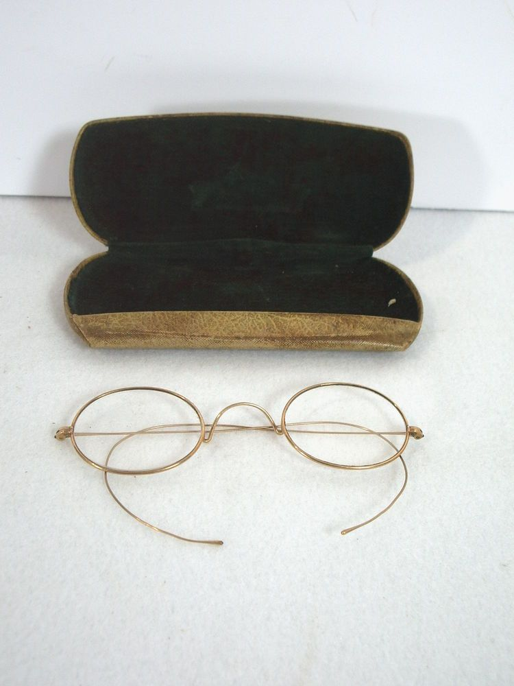 227691244ab0 Hardy Wire Rim Eyeglasses Antique Gold Oval Hard Case Green Velvet Steam  Punk