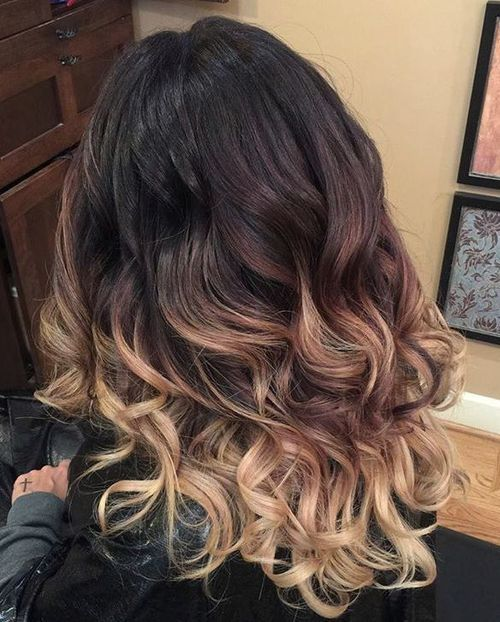Black To Blonde Curly Ombre Hair Black Hair Ombre Hair Styles Ombre Hair Blonde