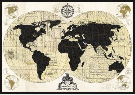 poster carte du monde vintage carte du monde. Black Bedroom Furniture Sets. Home Design Ideas