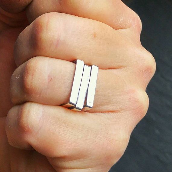 Silver Square Ring Square Silver Ring Mens Ring Square Square Rings Square Wedding Rings Silver Rings